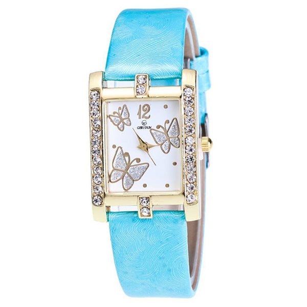 Square Classic -- Butterfly watches Women watches (sky blue)