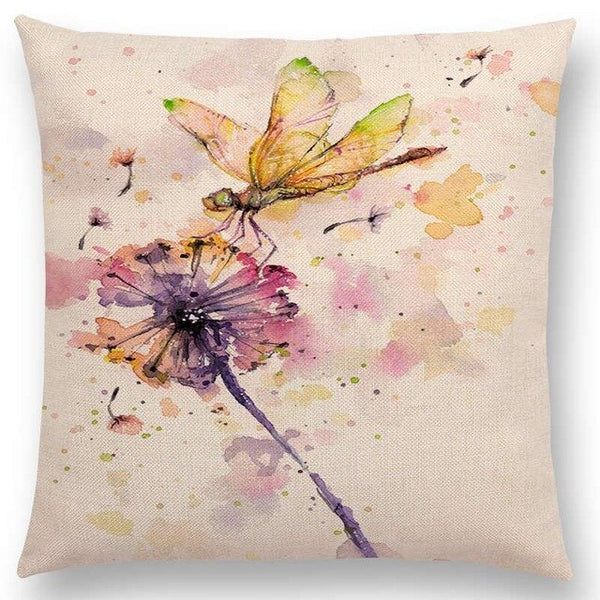 Watercolor Butterflies -- Floral cushion covers Pillow case (dragonfly)