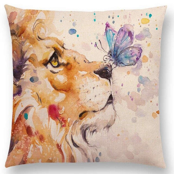 Watercolor Butterflies -- Floral cushion covers Pillow cases (lion and butterfly)