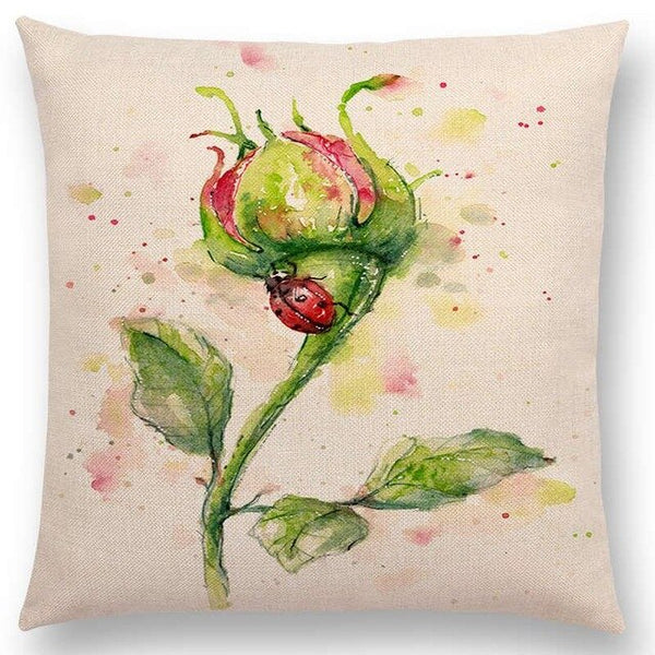 Watercolor Butterflies -- Floral cushion covers Pillow cases (ladybug))