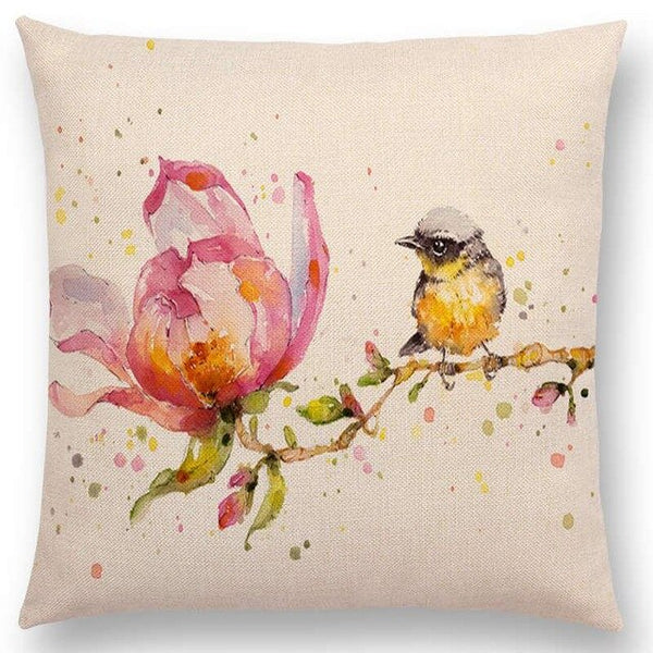 Watercolor Butterflies -- Floral cushion covers Pillow cases (bird & magnolia)