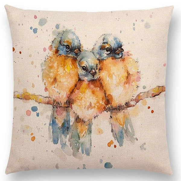 Watercolor Butterflies -- Floral cushion covers Pillow case (three birds)