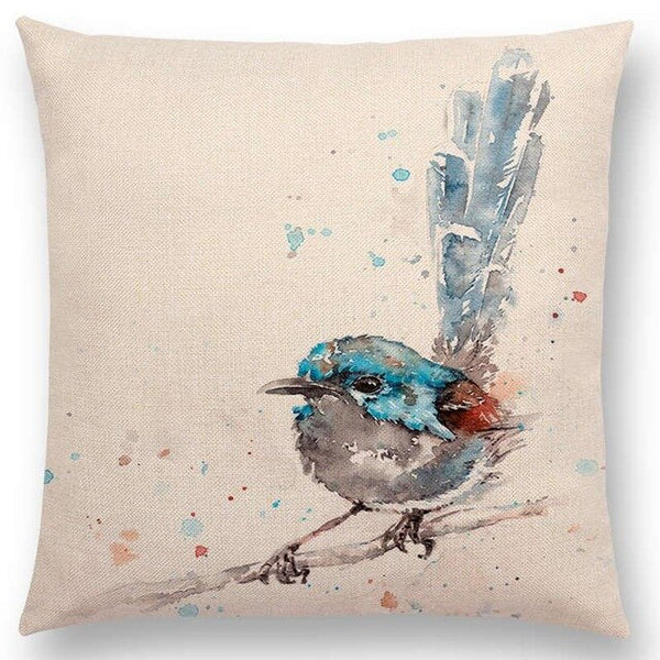 Watercolor Butterflies -- Floral cushion covers Pillow case (blue bird)