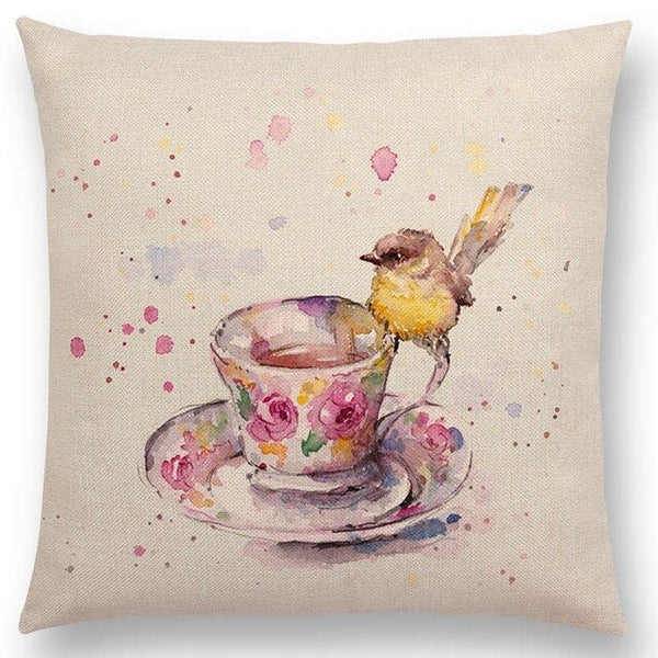 Watercolor Butterflies -- Floral cushion covers Pillow cases (bird and coffee)