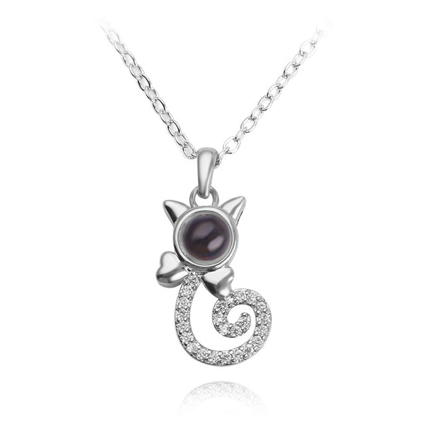necklace pendant in cat shape (silver)