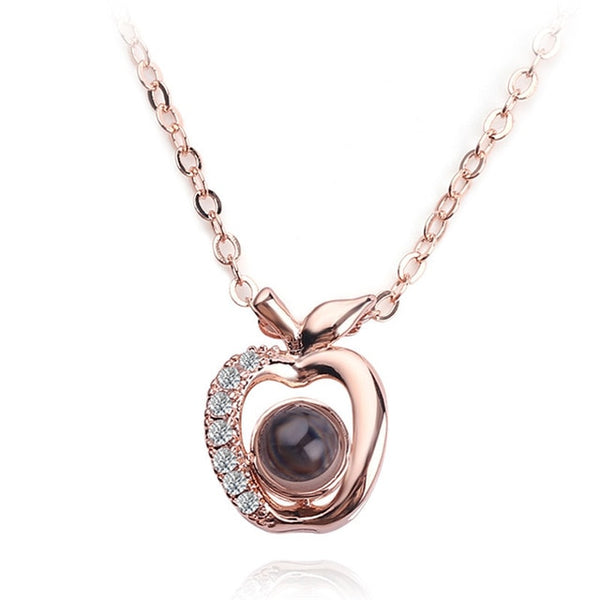 necklace pedant in apple shape (rose gold)