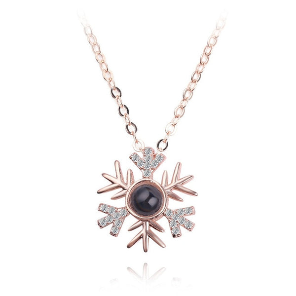 necklace pendant in snow flake shape (rose gold)