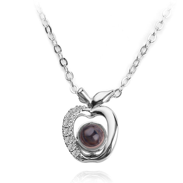 necklace pendant apple shape (silver)