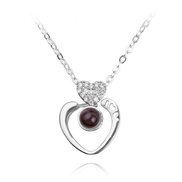 necklace pendant in rounded heart shape (silver)