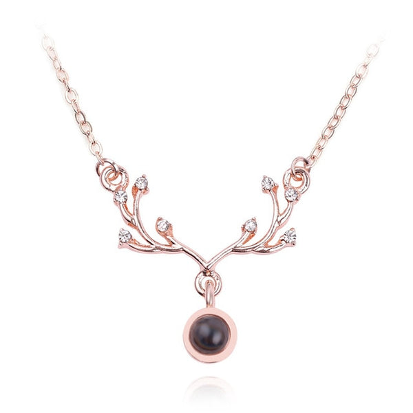 pendant in deer antler shape (rose gold)