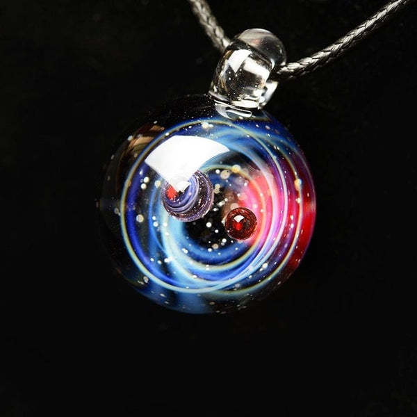 Universe Glass Art Pendant Necklace (blue and red)