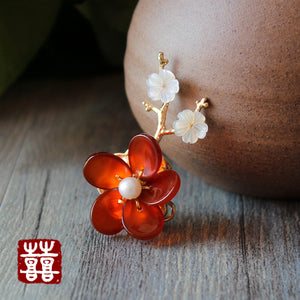 red flower brooch pin, with red agate and seashell