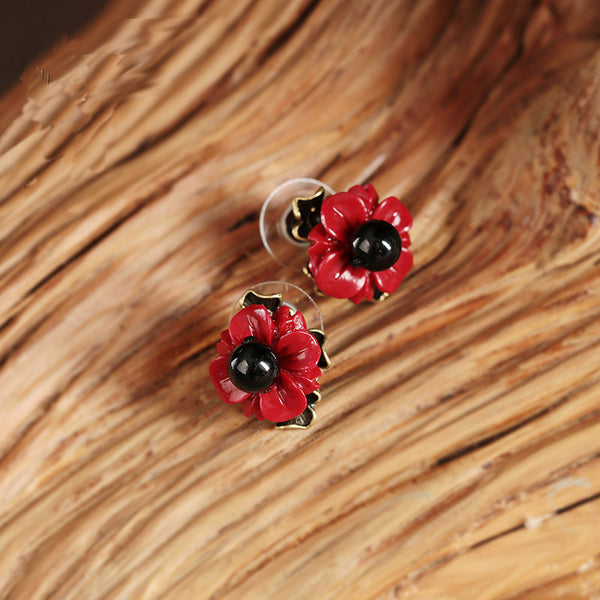 Women Earrings Ear Studs Seashell Red Flower Black Agate fashion jewelry