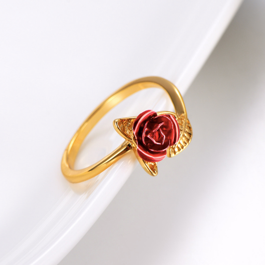 Red rose ring Adjustable rings for women , gold, front view