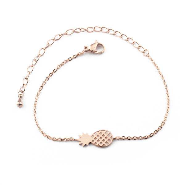 pineapple charm bracelet in rose gold