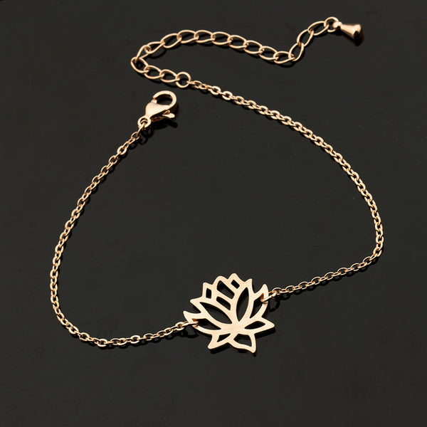 Zen Pond Lotus Flower Bracelet rose gold