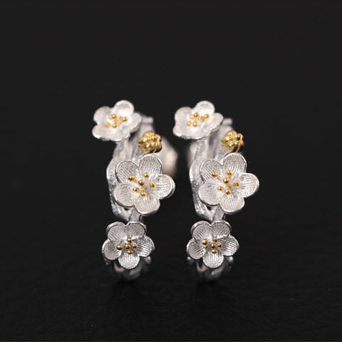 sakura flower earrings Sterling silver stud earrings for women Cheap ear rings (main view)