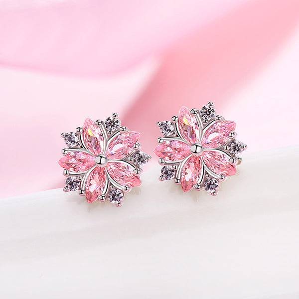 Sakura pink flower earrings Stud earrings for women Cheap ear rings (main view)