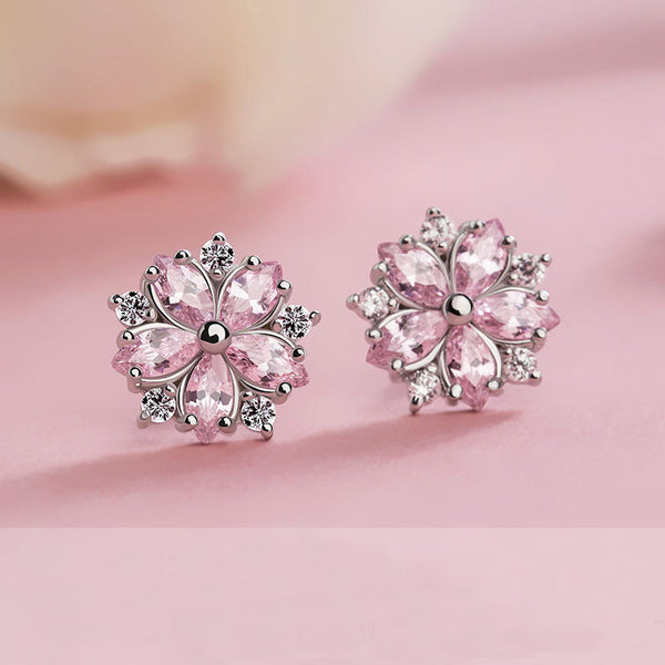 Sakura pink flower earrings Stud earrings for women Cheap ear rings (lovely pink)
