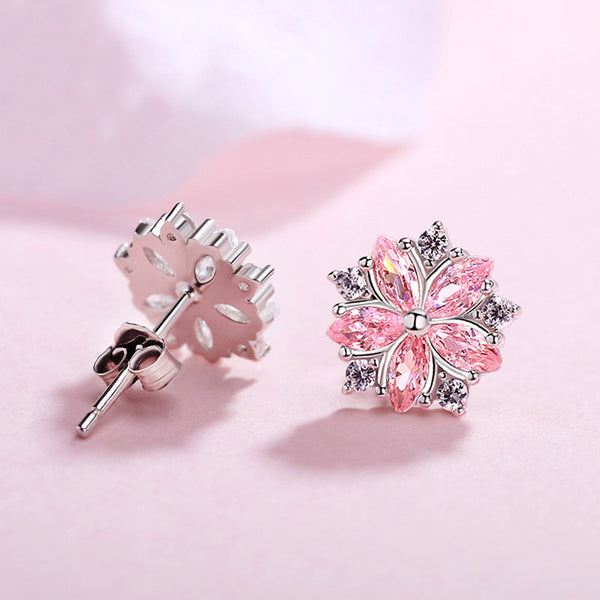 Sakura pink flower earrings Stud earrings for women Cheap ear rings (rare view)