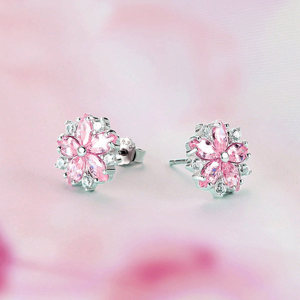 Sakura pink flower earrings Stud earrings for women Cheap ear rings (showing the back)