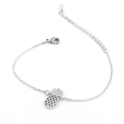 pineapple charm bracelet silver color