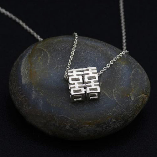 Sterling silver necklace for women, with double happiness pendants