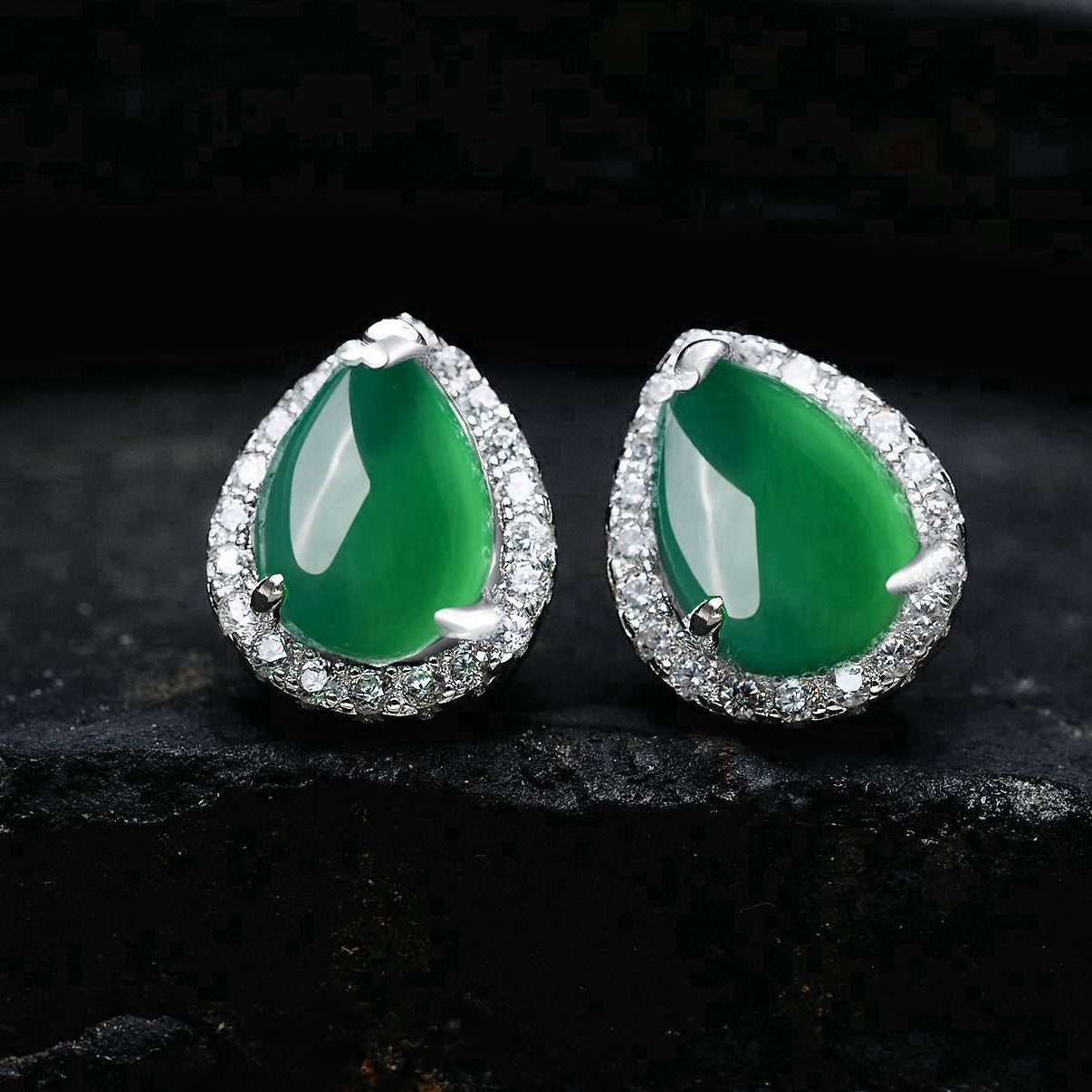 sterling silver stud earrings for women, with charming green agate stones