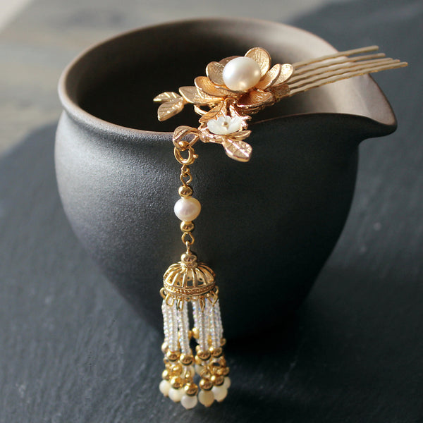 HANDMADE Women Hair Pin Comb Gold Flower Pearl Tassels Chinese Hairpin