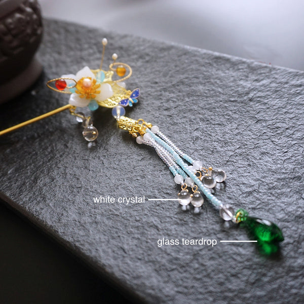 long tassels made of crystal and glass beads