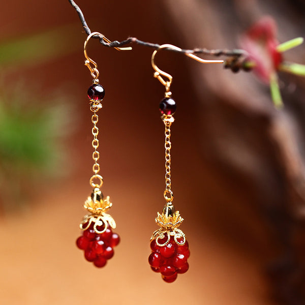 Asian dangle earrings with red agate 1