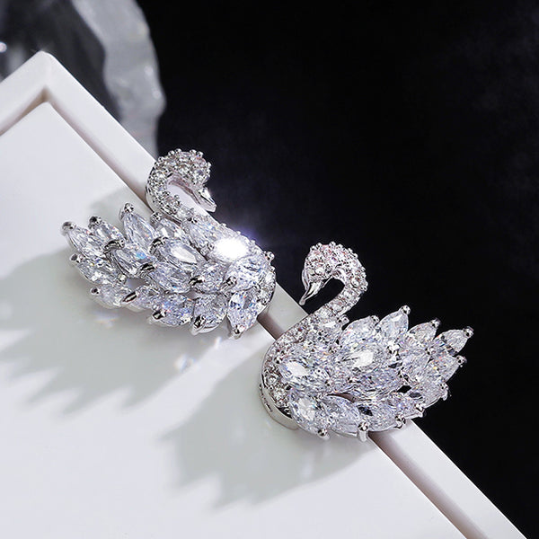 sparkling swan earrings, white version