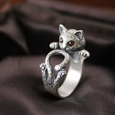 Women Jewelry Ring Free Size open Cute Cat Kitten crystal 990 Silver