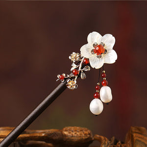 wood hair stick in Oriental style, with pearls and seashell flowers, and red agate beads