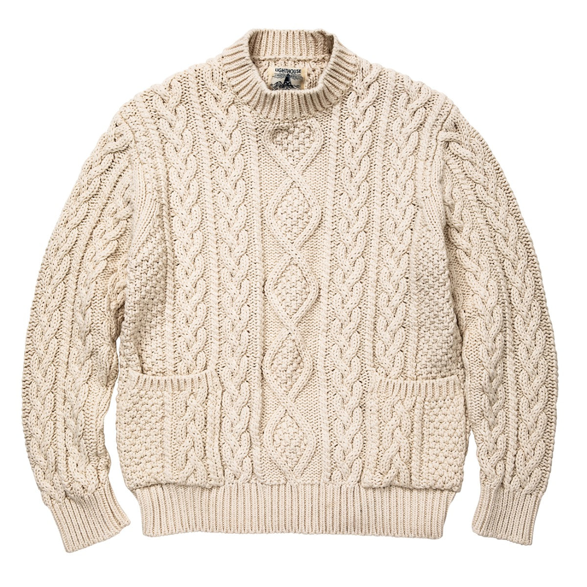 White Aran Crewneck Sweater