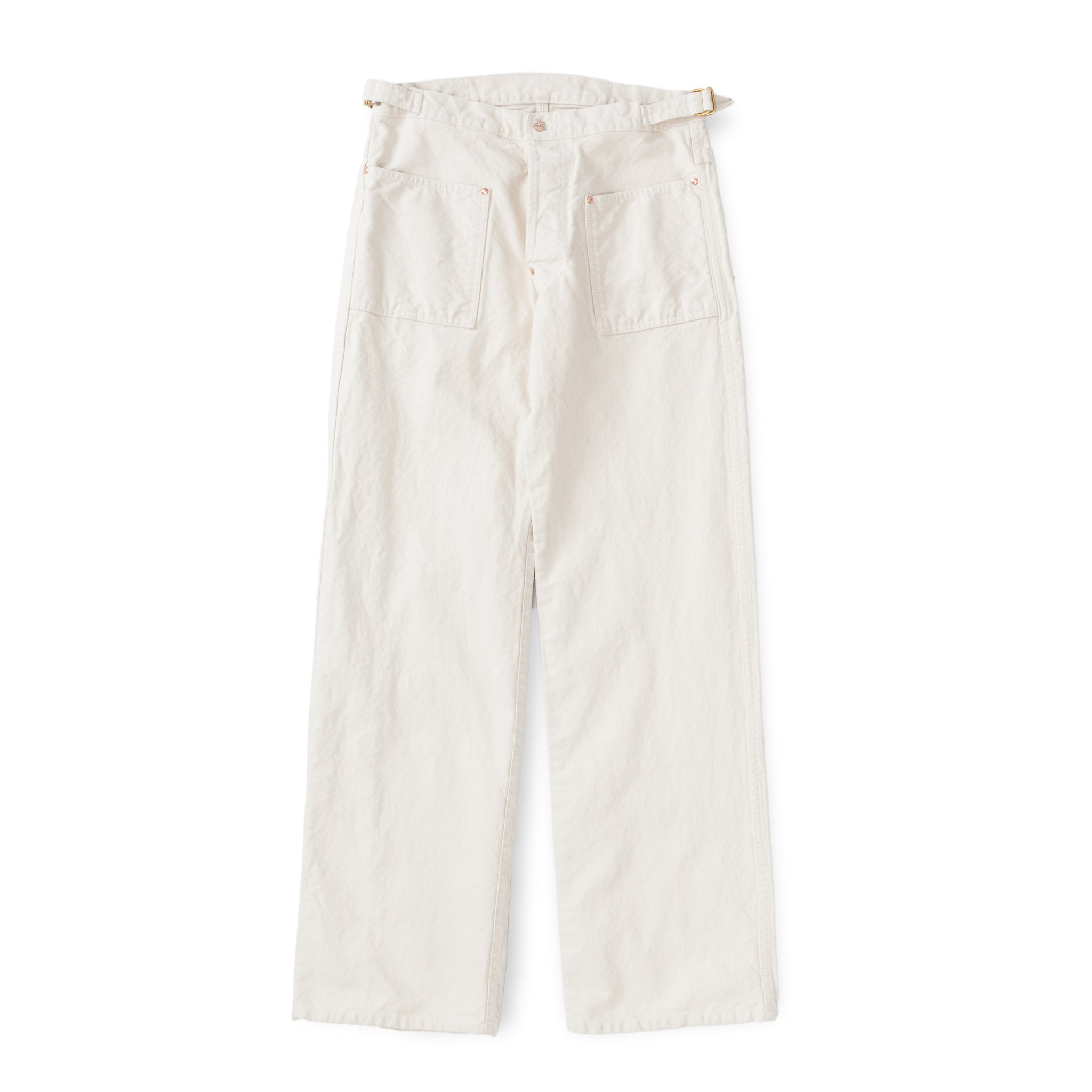 Type 126 Side Cinch Oxford Trousers (Ecru/Ecru Cotton Taunton)