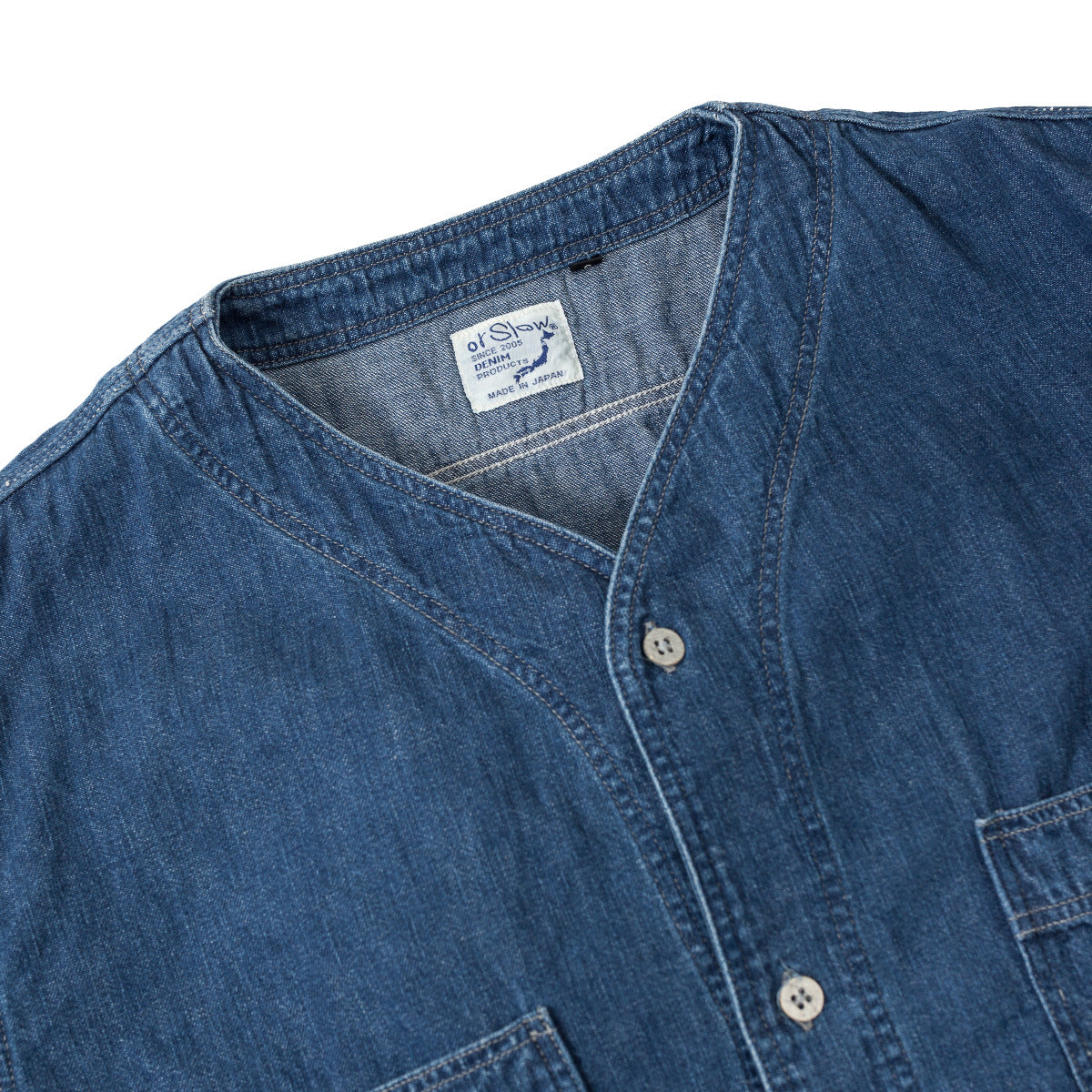 Orslow No Collar 6oz Denim Shirt