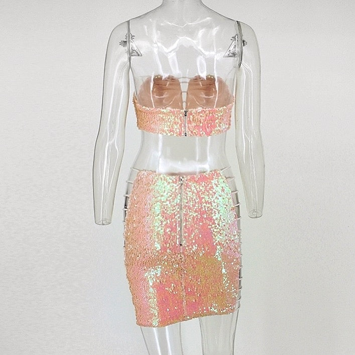 PINK SEQUIN TWO PIECE