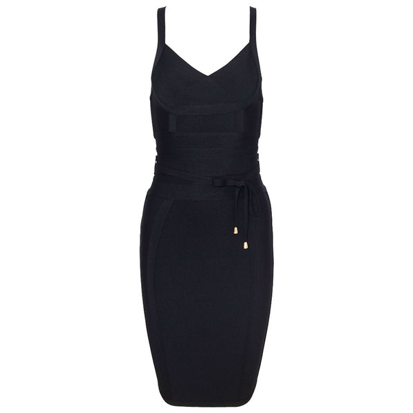 'MIA' BLACK TIE WAIST BANDAGE DRESS