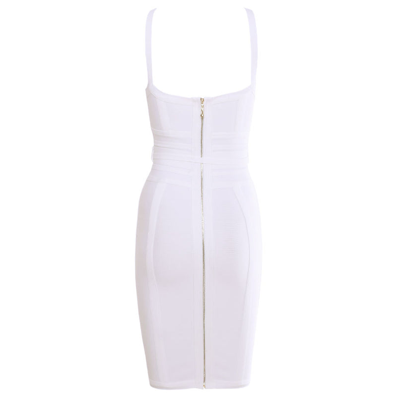 'MIA' WHITE TIE WAIST BANDAGE DRESS