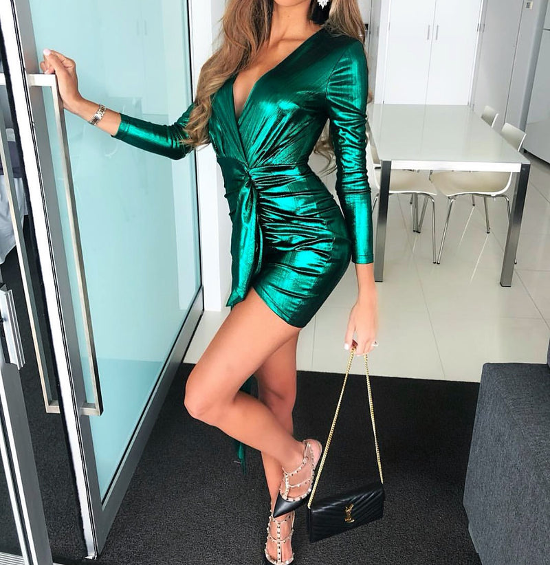 EMERALD GREEN METALLIC PLUNGE MINI DRESS