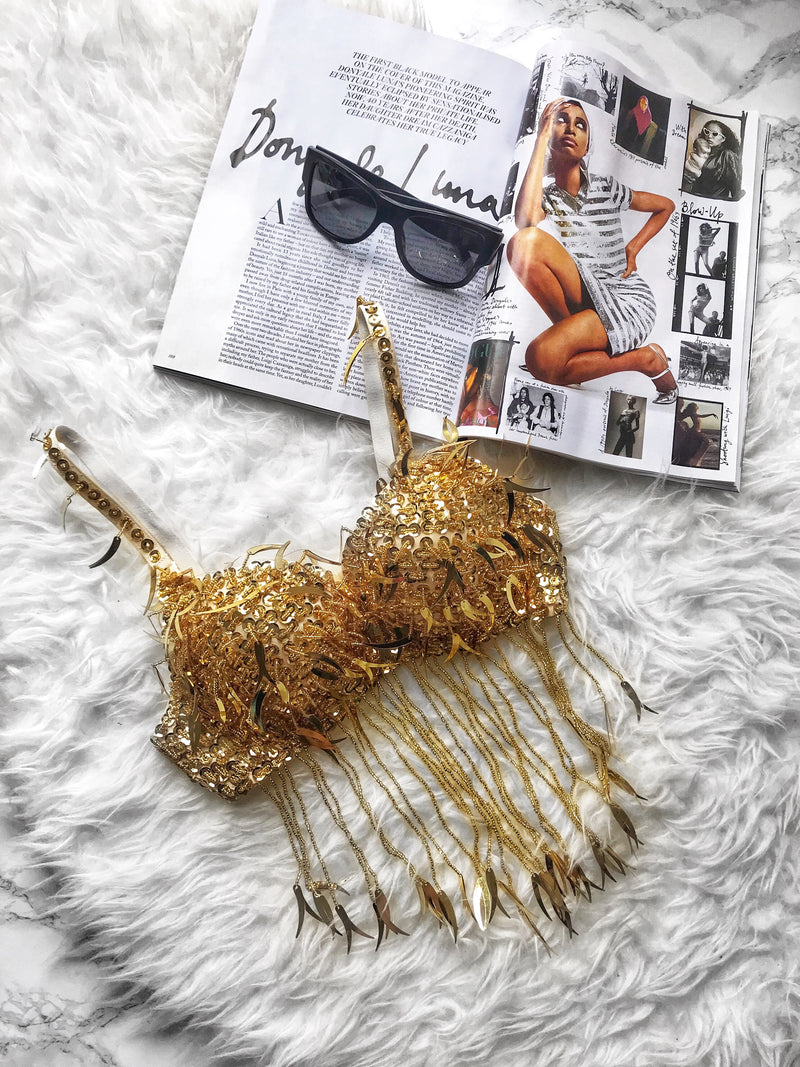 'GOLD' SEQUIN TASSEL BRA