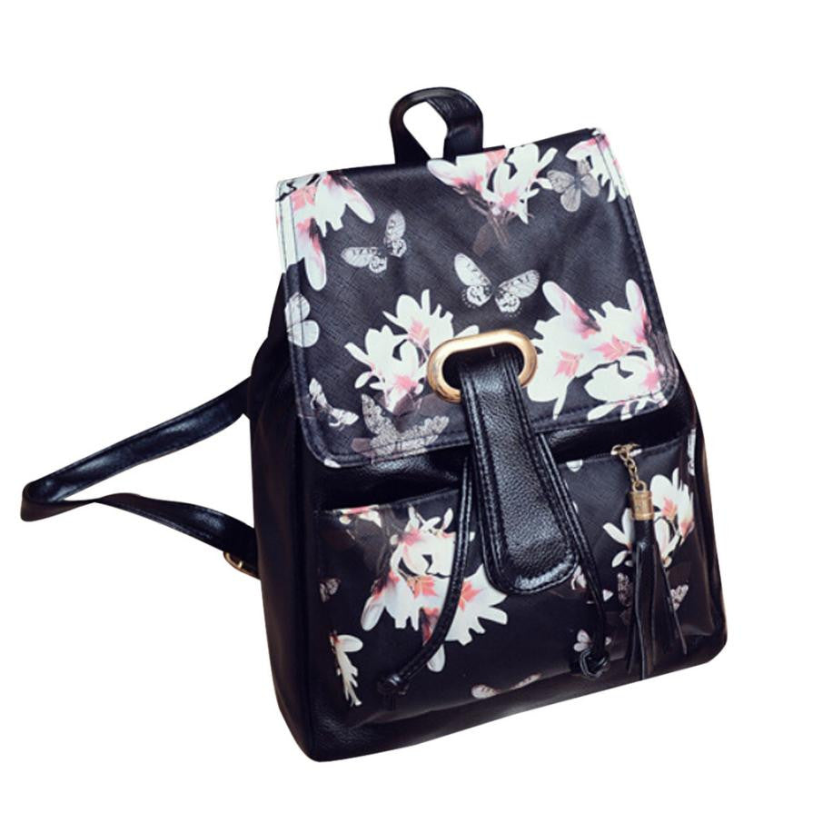 Leather Floral Women's Backpack