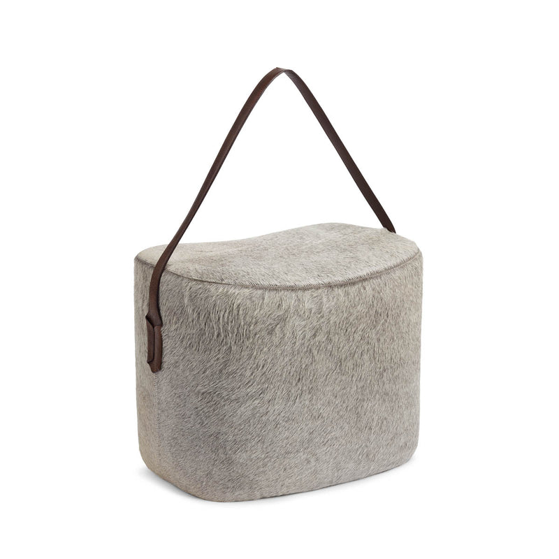 NC Living Pouf of Premium Quality Calf Leather w/Handle, Size 45x35x38 CM | Round Poufs Grå