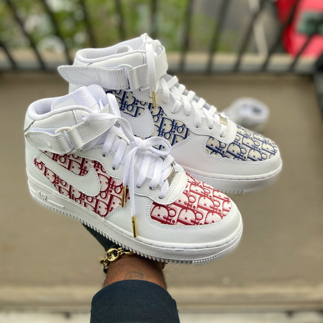Custom Red and Blue Dior Af1 Mid - Kiaun's Customs