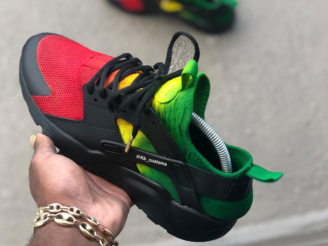 Custom Black Rasta Huaraches - Kiaun's Customs