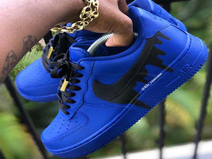 Custom Blue Drip Air Force 1s