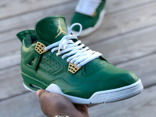 Custom retro Jordan Green and White  4s - Kiaun's Customs