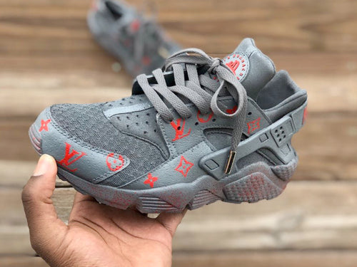 Custom Grey and Red lv Nike Huaraches - Kiaun's Customs