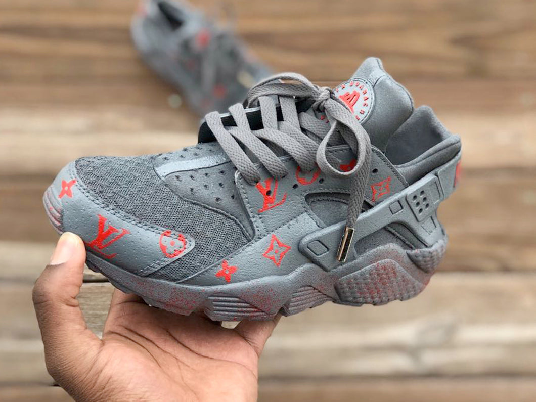 Custom Grey and Red lv Nike Huaraches
